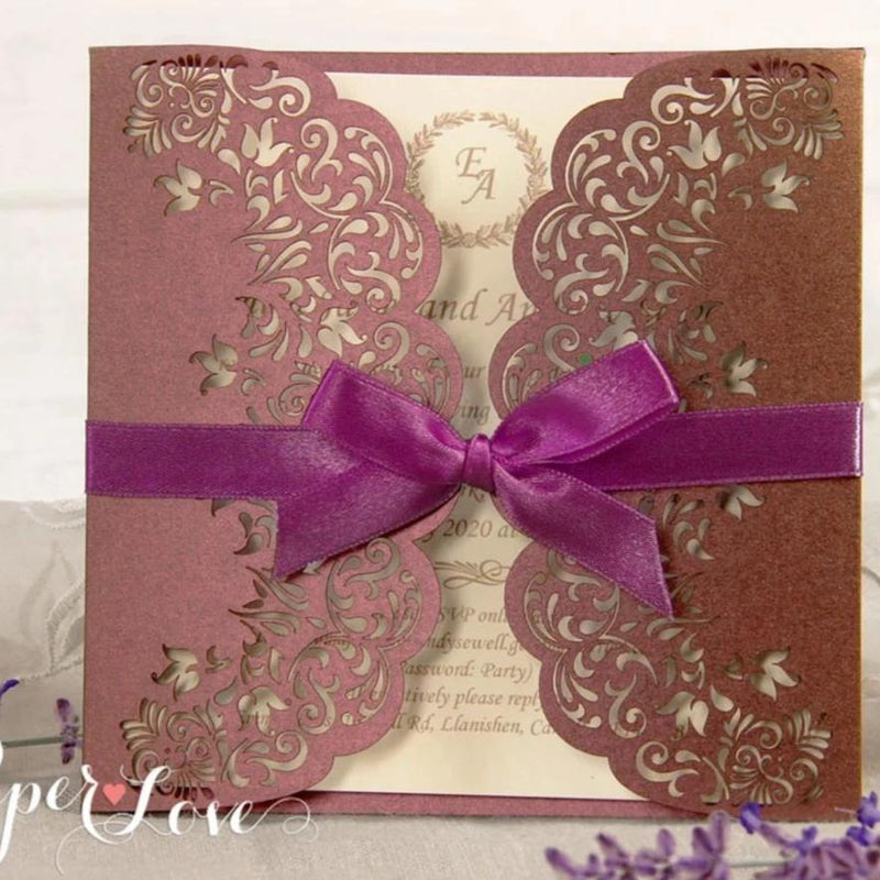 Handmade Gatefold Wedding Laser Cut Invitations