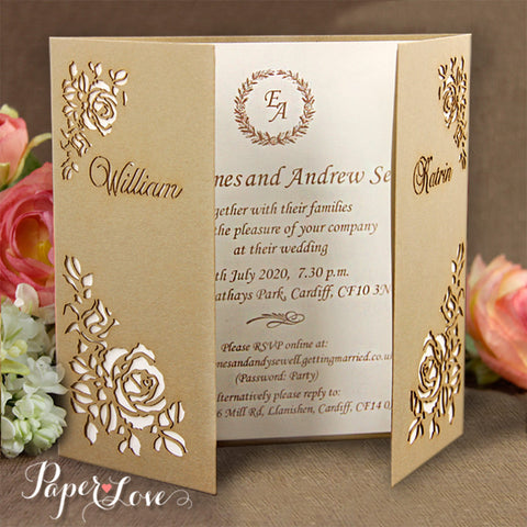 Laser Cut Glitter Square Wedding Day Invitation Pocket Pink Parchment Band