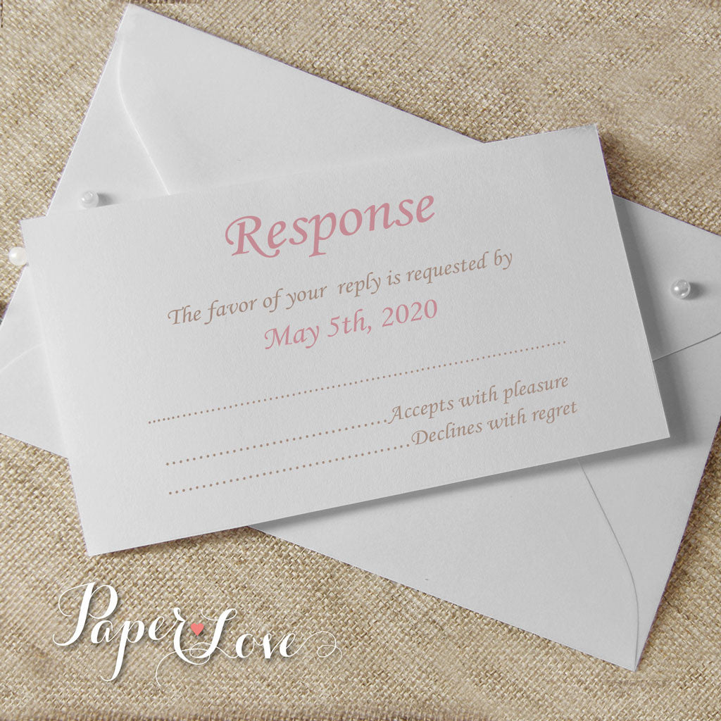 Beautiful White or Cream Wedding Reply Card  With Matching Envelope, RSVP