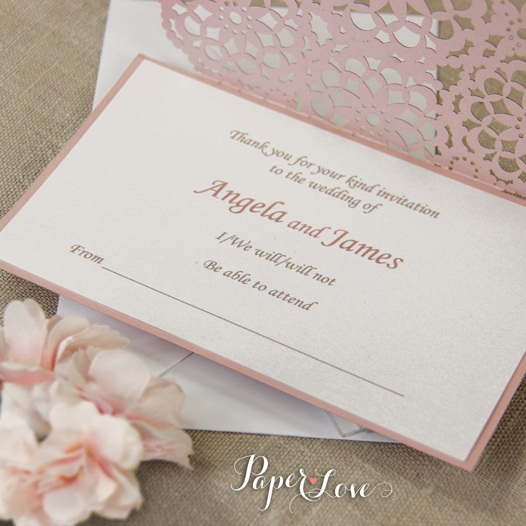 Laser Cut Reply Card With Envelope RSVP & Thank You Card