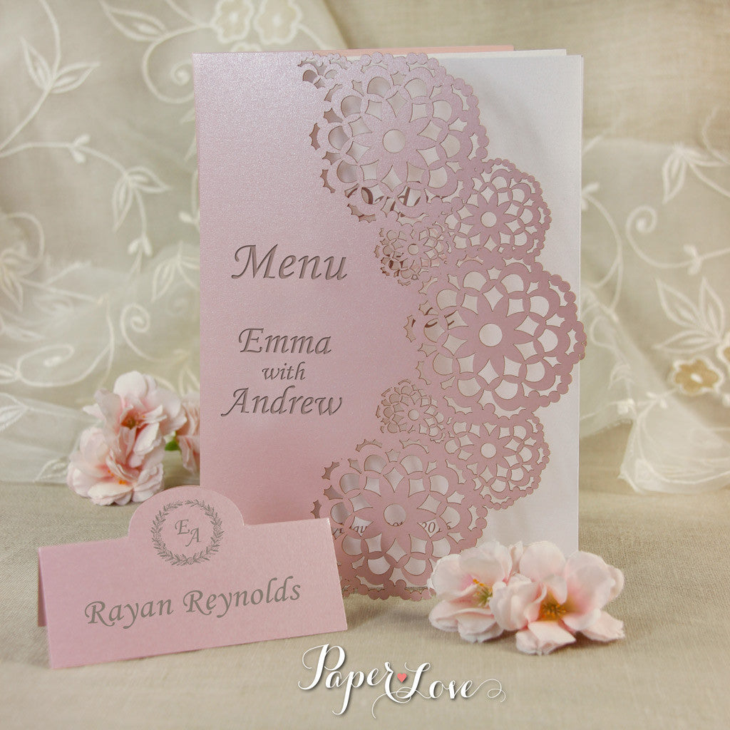 Misty Vintage Rose Beautiful Personalised Place Card