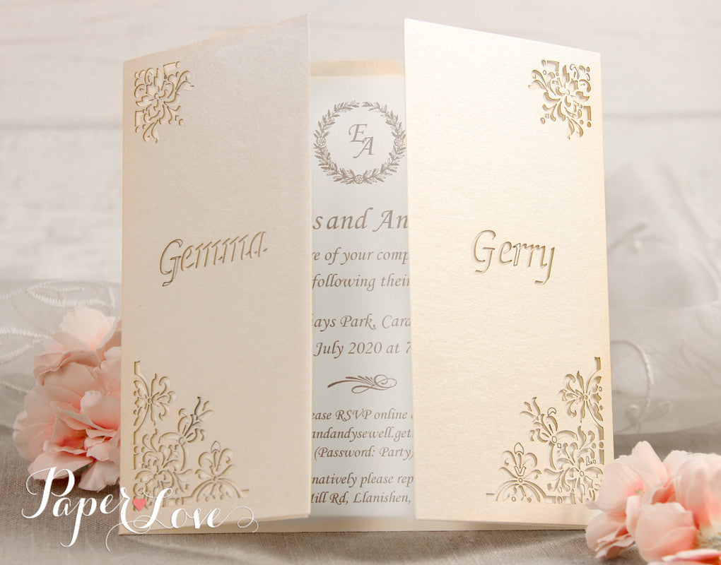Original Flower Corners Laser Cut White Gatefold Wedding Day Invitation