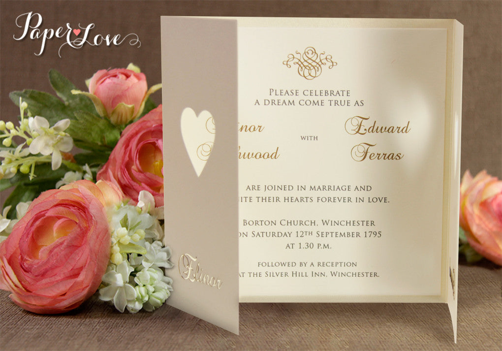 Wedding Invitations Day Heart Cream Gatefold Satin Ribbon Laser Cut Personalised