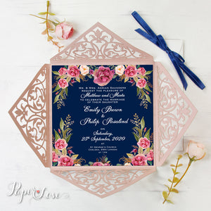 Beautiful Pink Laser Cut Square Wedding Day Invitation