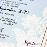 Beautiful Wedding Day Invitation With Aqua Blue Background & White Printed Floral Lace