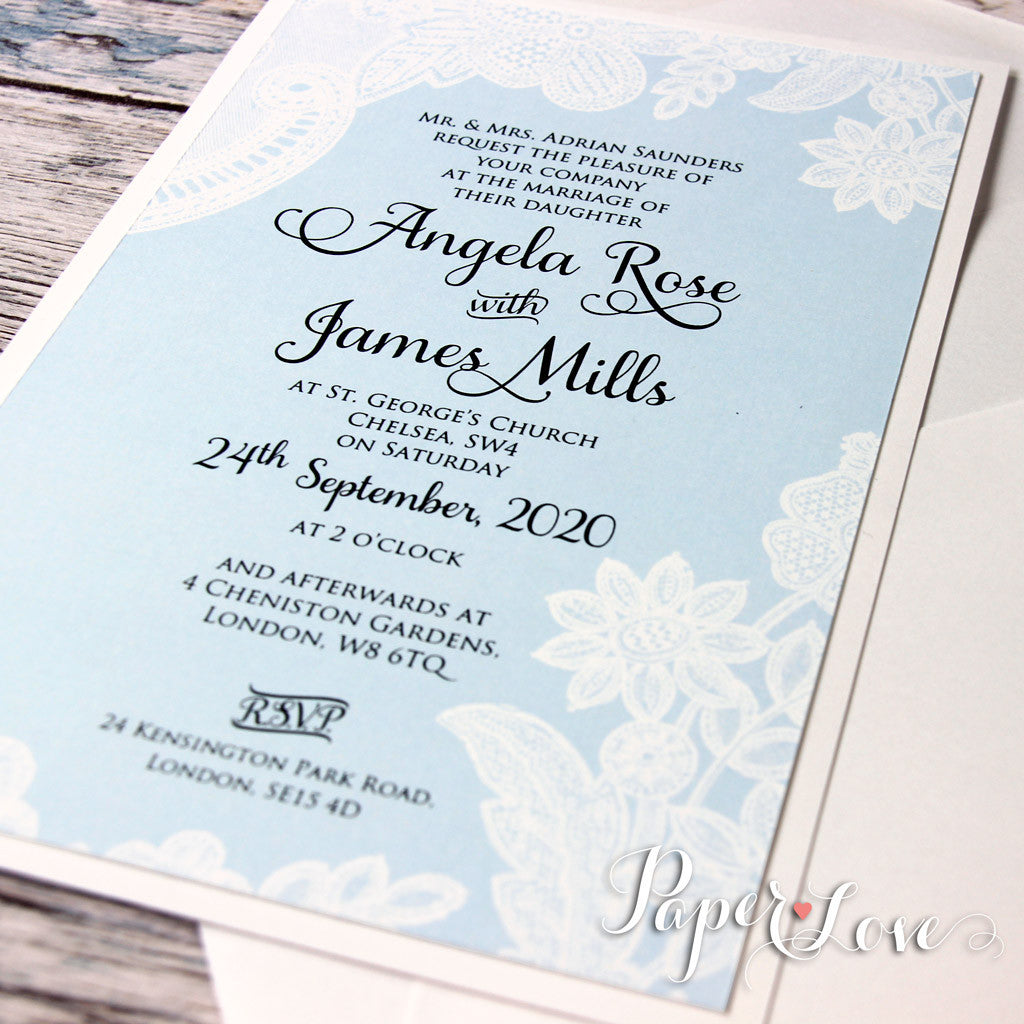 Beautiful Wedding Day Invitation With Aqua Blue Background White Pri Paper Love Cards