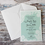 Amazing Wedding Day Invitation With Mint Background & White Printed Floral Lace