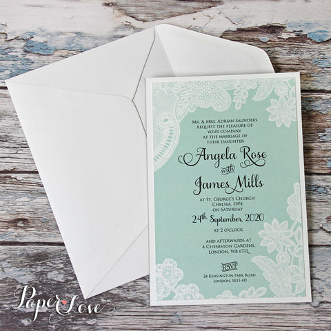amazing wedding day invitation with mint background white printed floral lace - Amazing Wedding Invitations