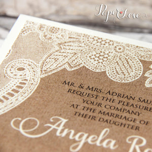 Ecco Wedding Day Invitation With Eko Brown Background & Cream or White Printed Floral Lace