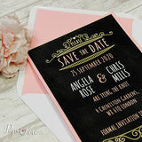 Save The Date Card, Black Background, Lined Envelope