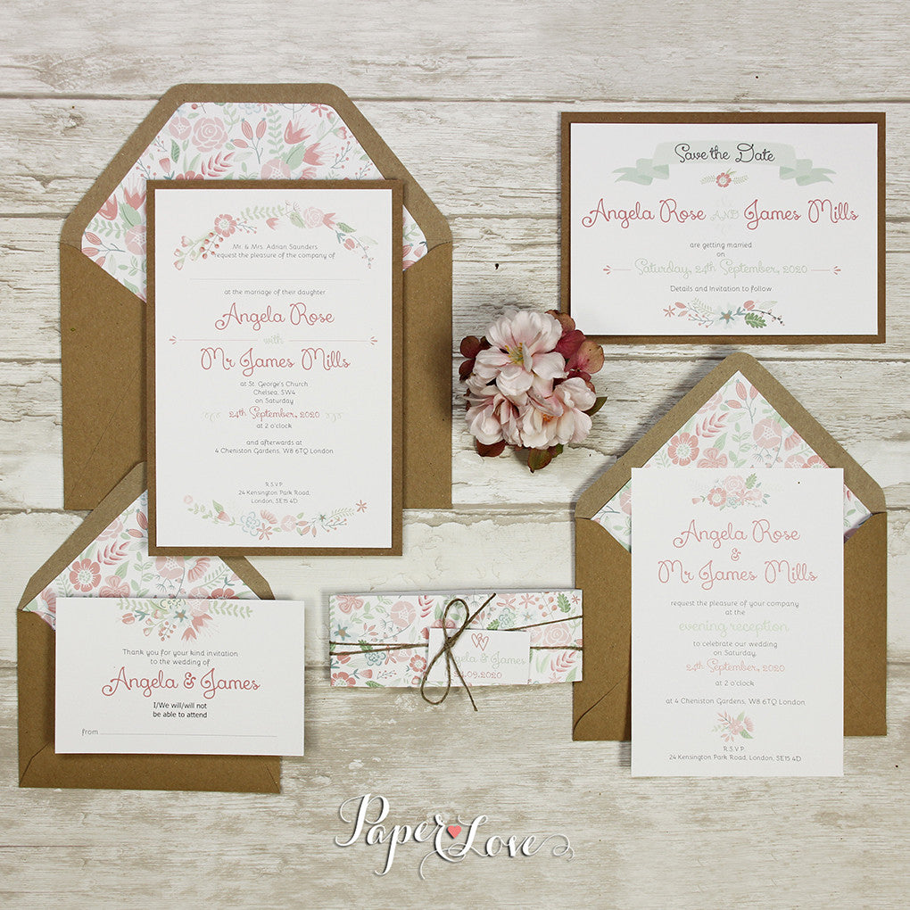 Pastel Rustic Flowers Day Invitation