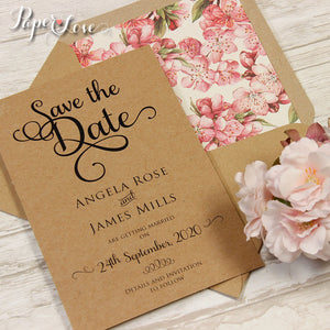 Soft Pink Flowers Day Invitation Eco