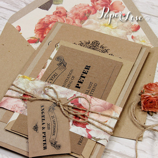 Save The Date With Lined Envelope, Roses, Eko Craft Paper
