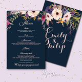 Original Flowers With Navy Blue Background Wedding Day Invitation With Lined Envelope