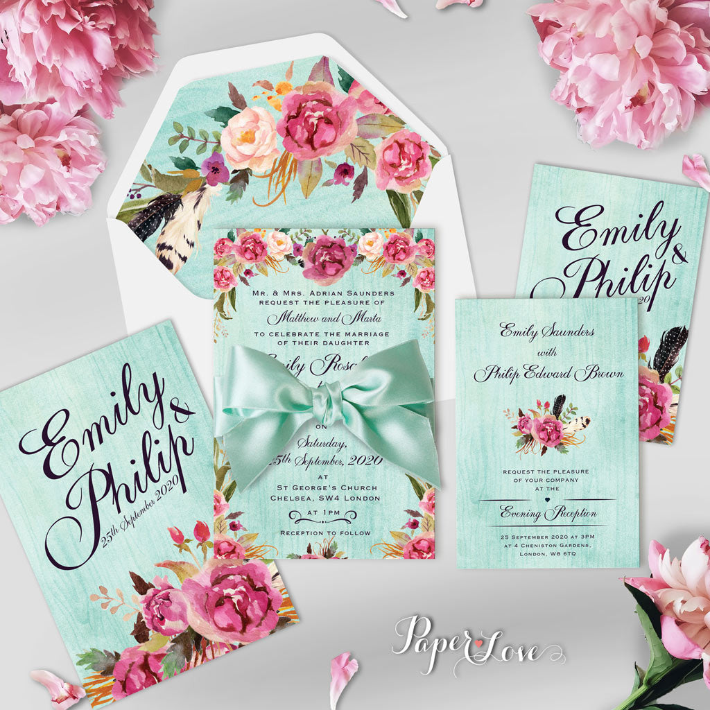 beautiful rustic flowers with mint background wedding day invitation with ribbon