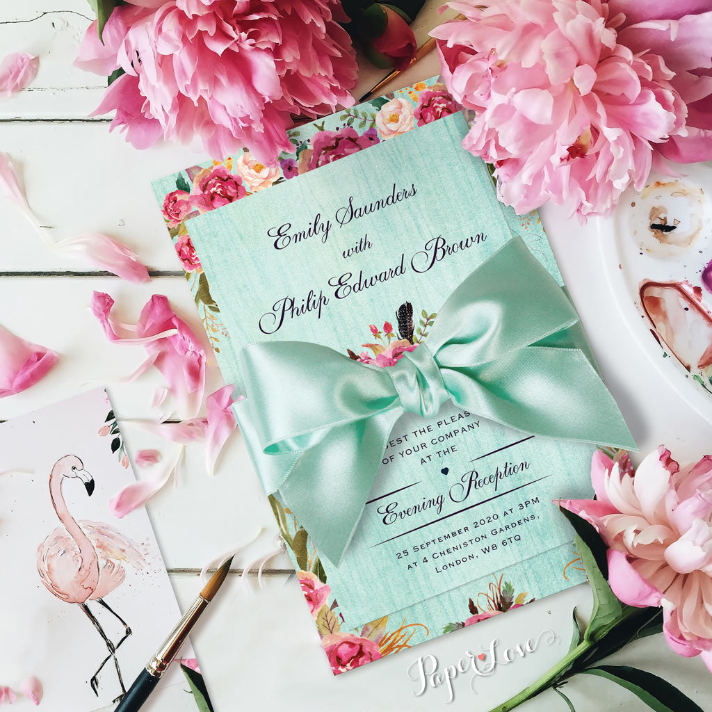beautiful rustic flowers with mint background wedding day