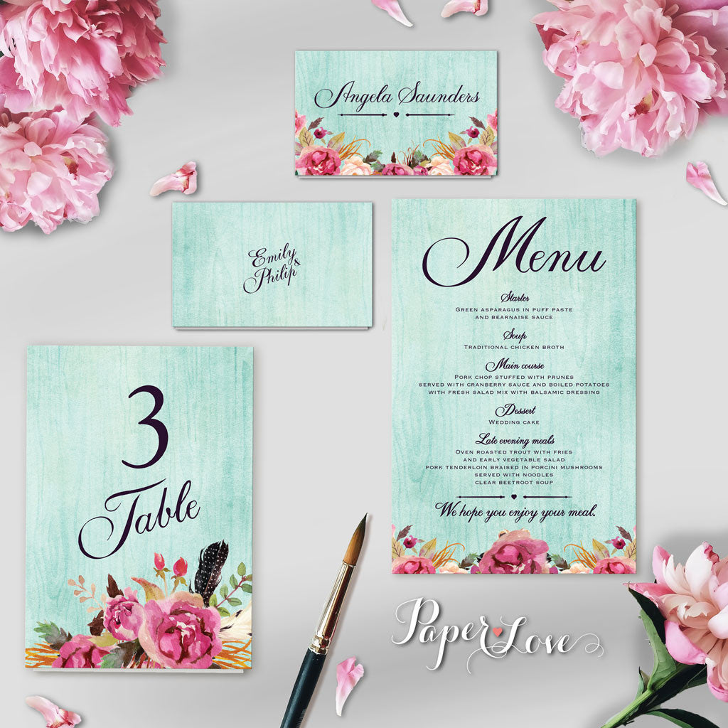 Beautiful Rustic Flowers With Mint Background Wedding Day Invitation