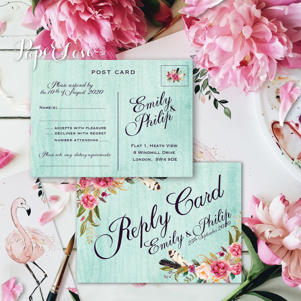 Rustic Flowers With Mint Background Wedding RSVP POSTCARD