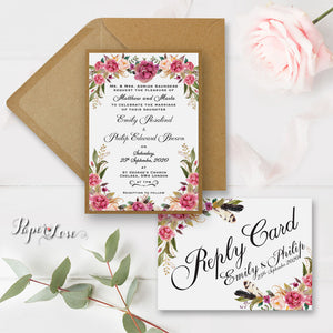 Floral Motive Reply Card Rustic Flowers Wedding RSVP - POSTCARD