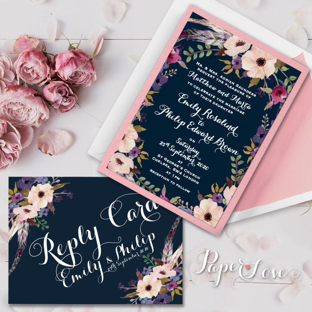 Dark Postcard Wedding RSVP Reply Card Rustic Flowers