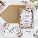 Floral Motive Postcard Wedding RSVP Reply Card Rustic Flowers