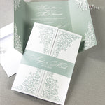 Gatefold Wedding Day Invitation with Band High Quality Colours Green Peach Vintage Rose Silver Blue