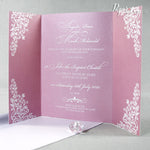 Vintage Rose Gatefold Wedding Day Invitation with Band High Quality
