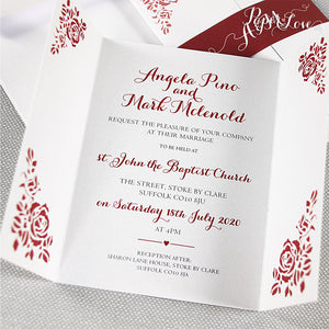 Marsala Gatefold Wedding Day Invitation with Band Rose Elements