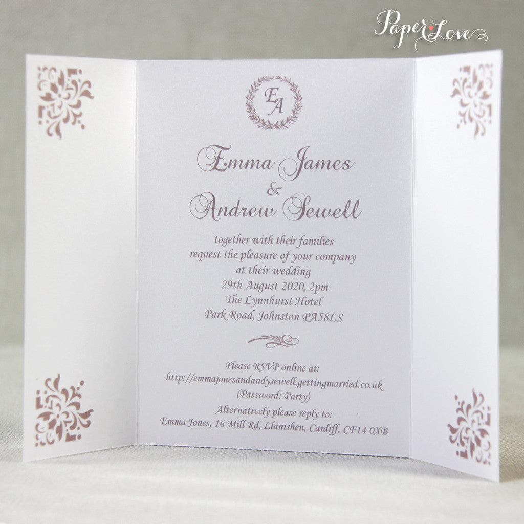 Ornamental Gatefold Wedding Day Invitation With Band And White ...