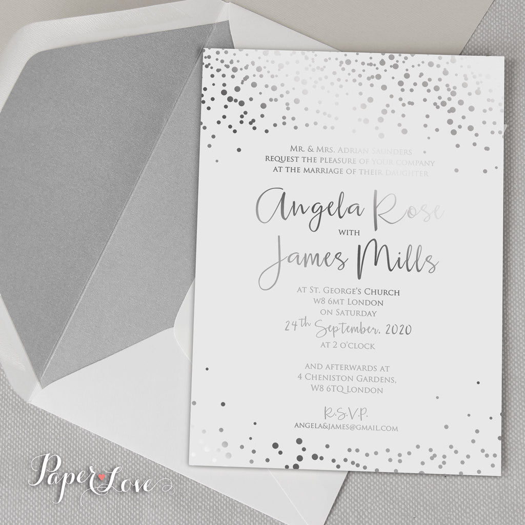 Amazing Beautiful Gold Foil Confetti Elegant Wedding Invitation ...