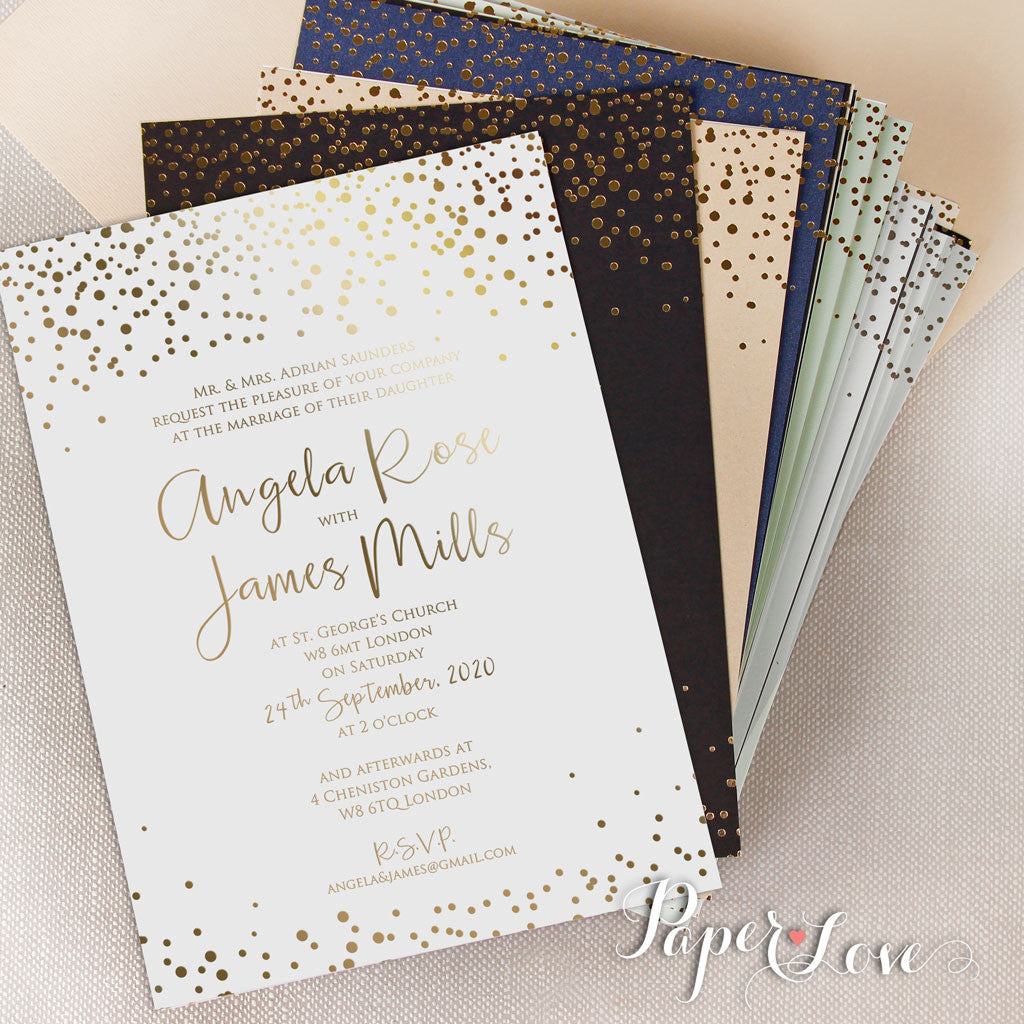 amazing beautiful gold foil confetti elegant wedding invitation white - White And Gold Wedding Invitations