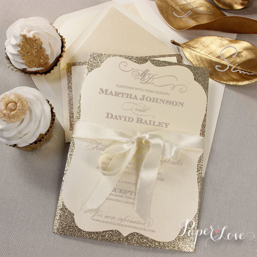 Amazing Personalised Gold Glitter Ribbon Day Wedding Invitation ...