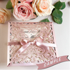 SAMPLE of BEAUTIFUL PINK LASER CUT SQUARE WEDDING DAY INVITATION POCKET