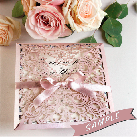 SAMPLE of LIGHT PEACH LASER CUT SQUARE WEDDING DAY INVITATION POCKET PINK PEACH PARCHMENT