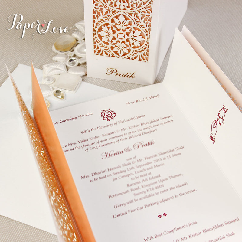 Luxury Gatefold Asian Wedding Day Invitation Personalised Laser Cut Cover