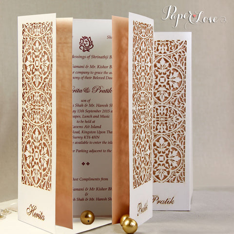 Your Laser Cut Wedding Day Evening Invitation with Ribbon
