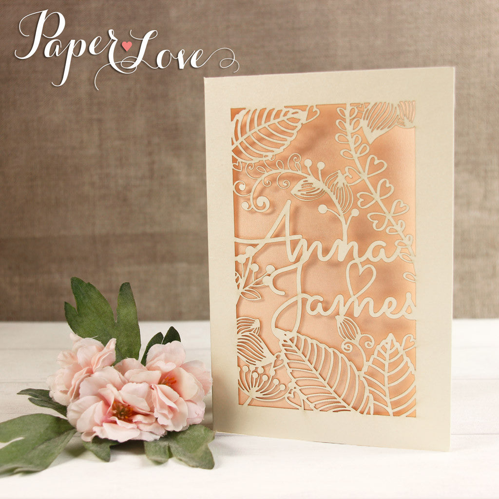 Large Intricate Bride & Grooms Names Personalised Laser Cut Wedding Invitations