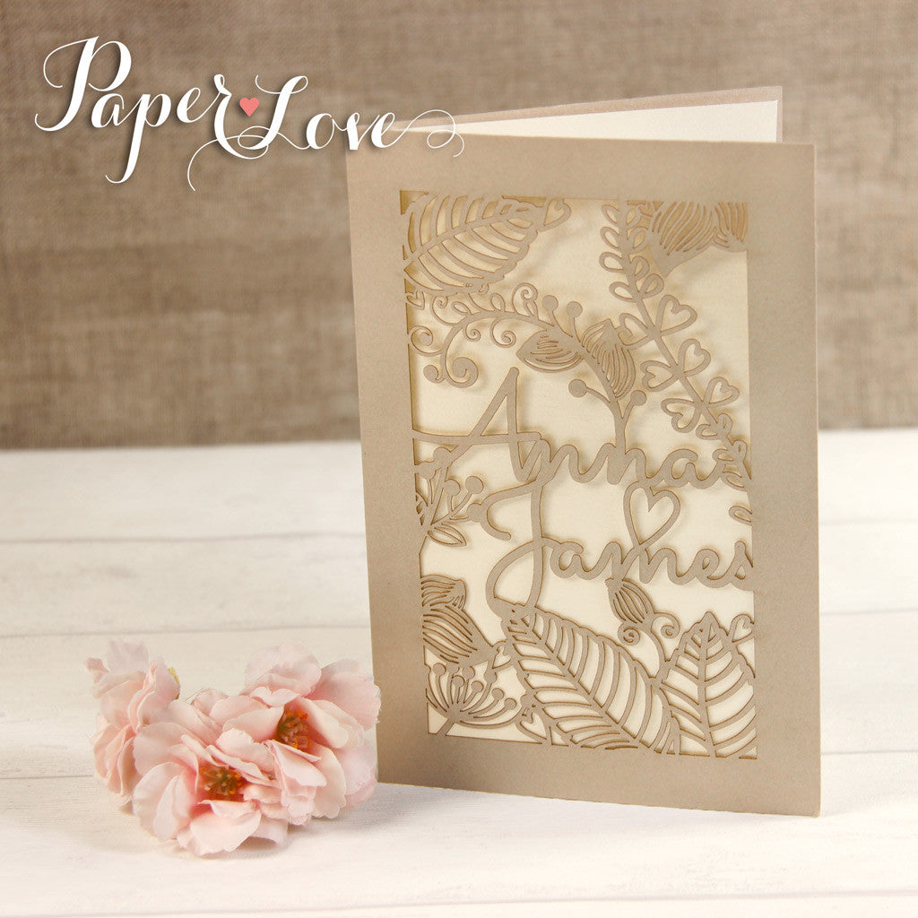 Pearlescent Flower and Names Laser Cut Personalised Wedding Invites