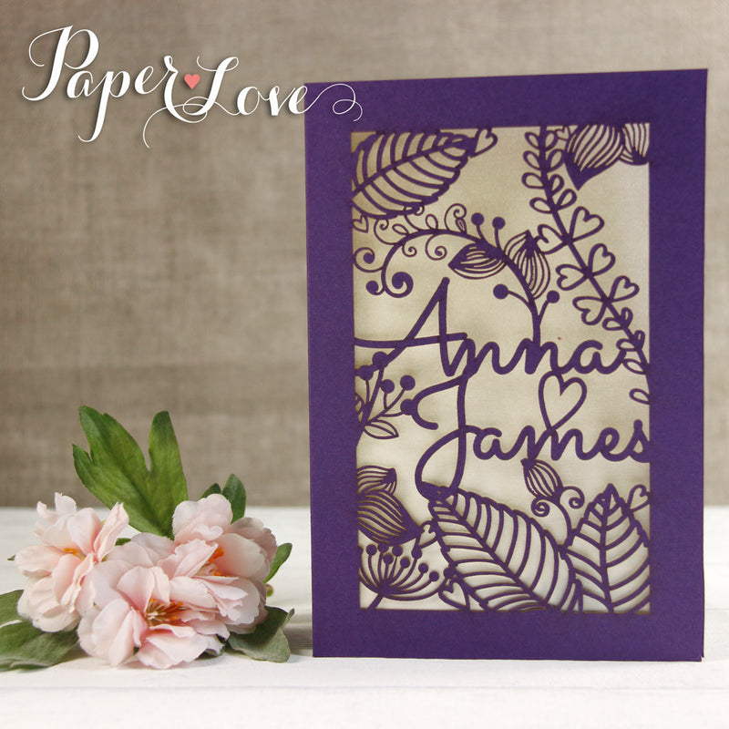 Violet Laser Cut Personalised Flowers Wedding Invitations