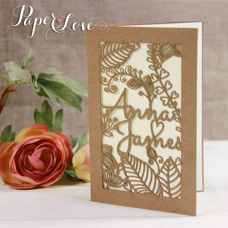 Rustic Shabby Chic Laser Cut Personalised Wedding Invitation