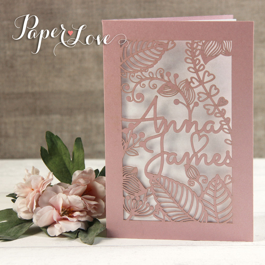 Amazing Quality Side Fold Rose Personalised Wedding Cards Paper