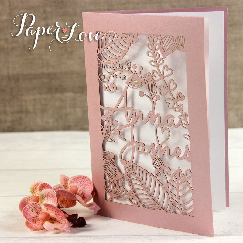 Amazing Quality Side Fold Rose Personalised Laser Cut Cover Wedding Invitations
