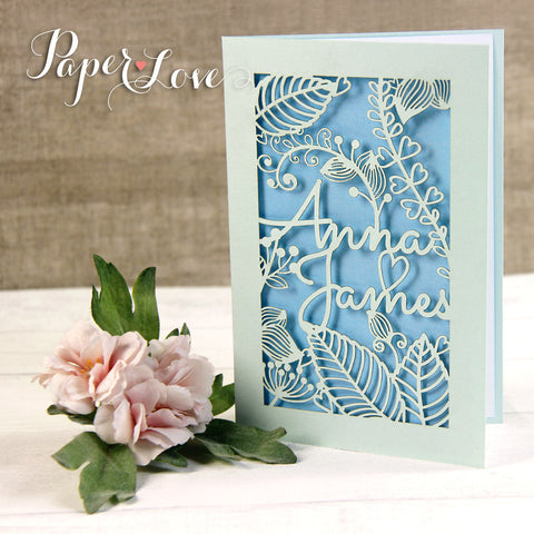 Blue Mint Laser Cut Square Wedding Day Invitation