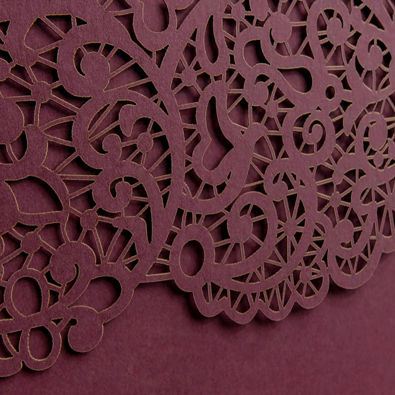 Personalised Laser Cut Pocketfold Wedding Card with 4 inserts and Envelopes - Bordeaux Wine