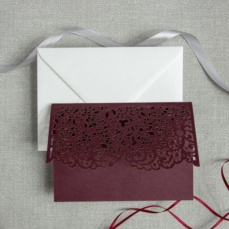 Burgundy Pocketfold Laser Cut Invitations