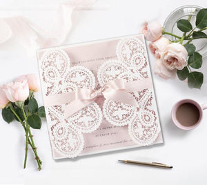 SAMPLE of ROMANTIC LASER CUT WEDDING DAY EVENING INVITATION