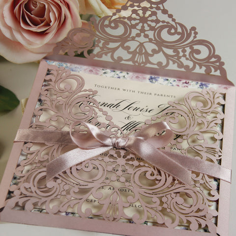 Embossed Laser Cut Gatefold Bordered Flowers with Ribbon