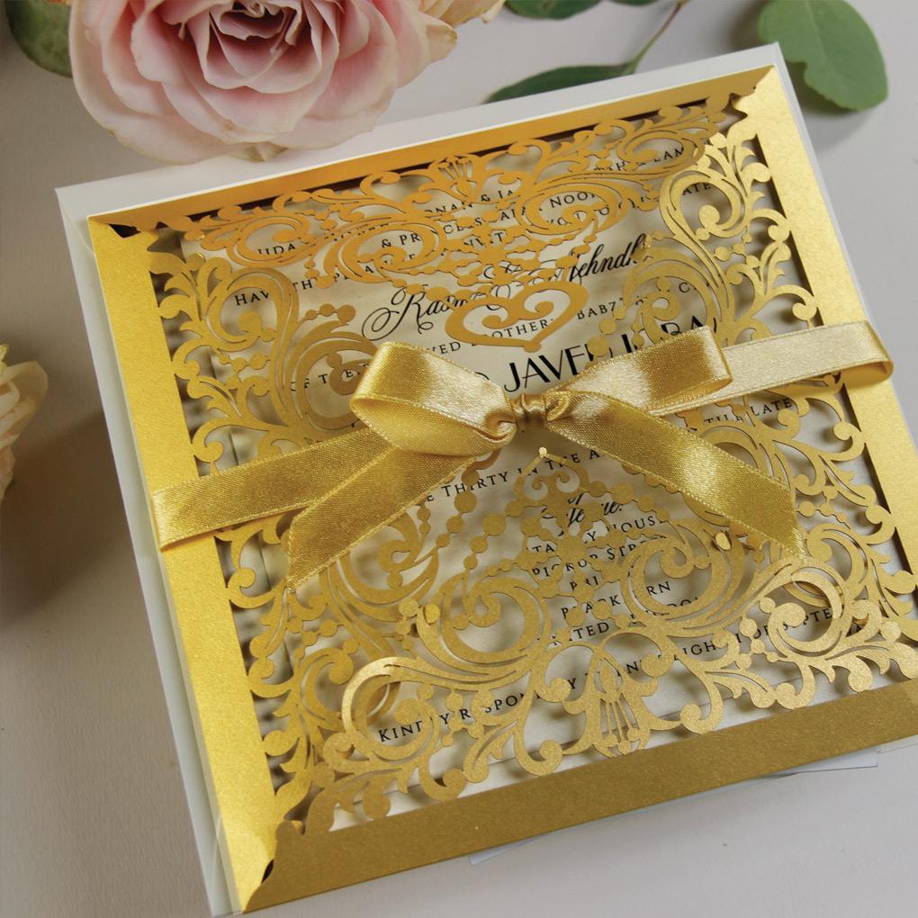 Gold Laser Cut Square Wedding Day Invitation Pocket