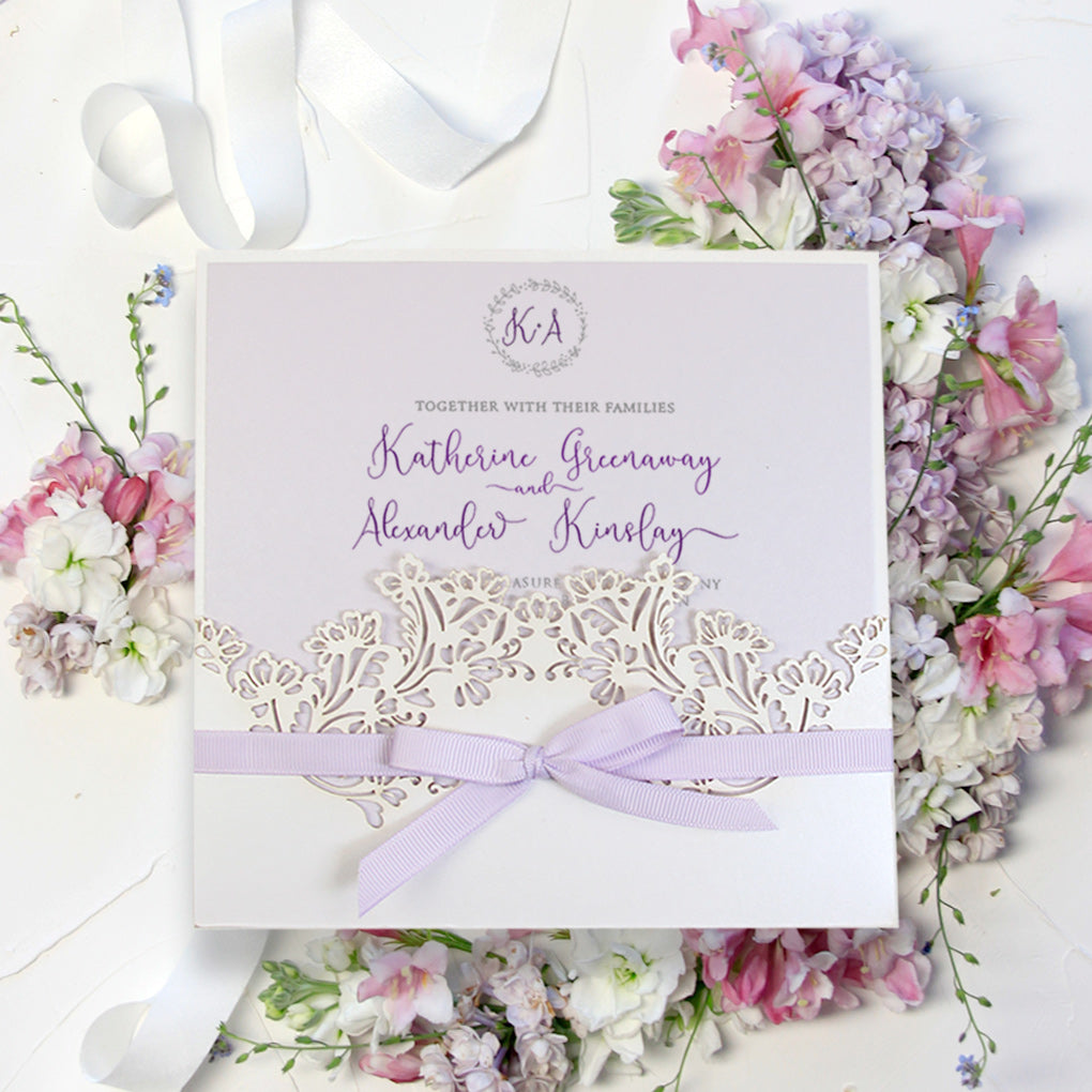 Light Cream Pocket Lilac Handmade Invitation Day Wedding Invitations Laser Cut