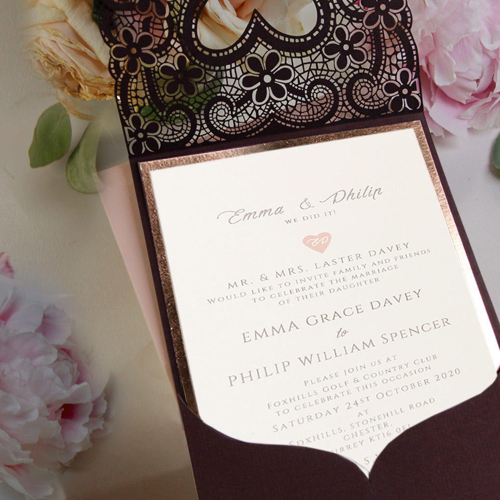 Amazing Rose Gold Foil Elegant Wedding Invitation Pocket
